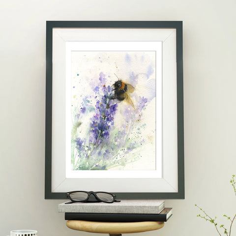 "Original watercolour painting ""bee on lavender"""