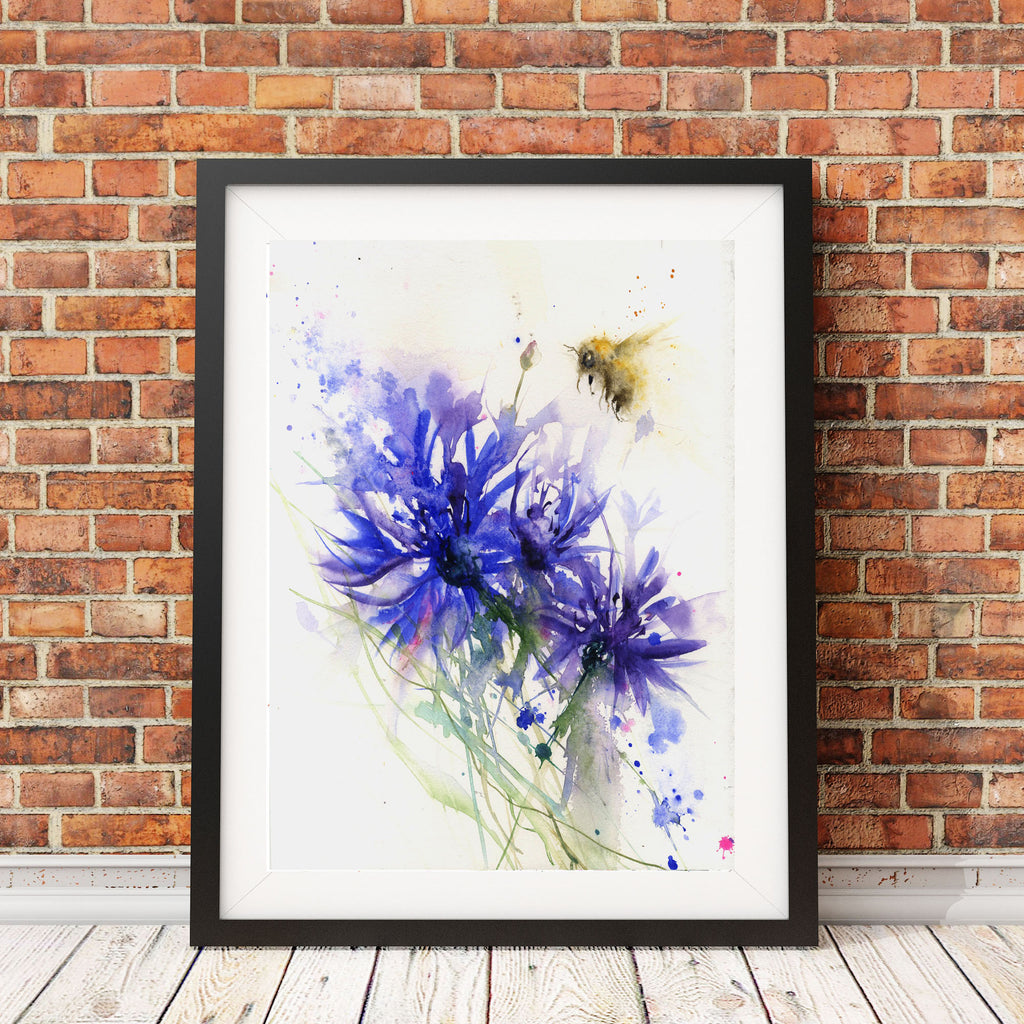 "Limited edition print ""bee and the cornflower"""