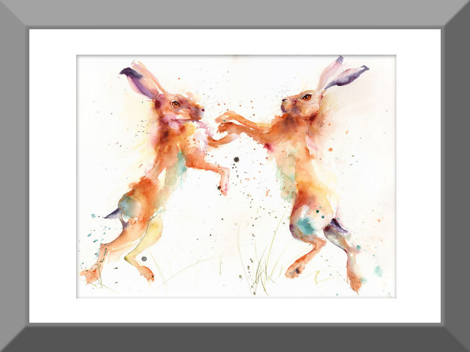 signed LIMITED EDITION PRINT original BOXING HARES animal wildlife art painting