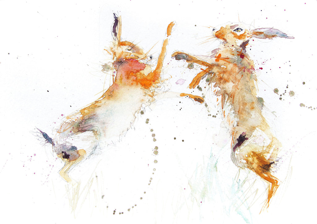JEN BUCKLEY signed LIMITED EDITION PRINT of my original BOXING HARES - Jen Buckley Art limited edition animal art prints
