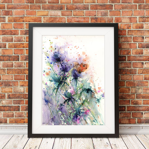 Contemporary floral art  print from original watercolour butterfly on a sea holly