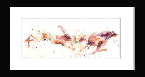 limited edition PRINT of my original chasing HARES II watercolour