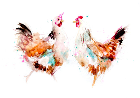 JEN BUCKLEY signed LIMITED EDITON PRINT of my original 2 HENS watercolour