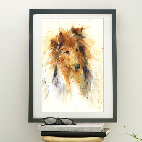 Original watercolour painting Rough collie