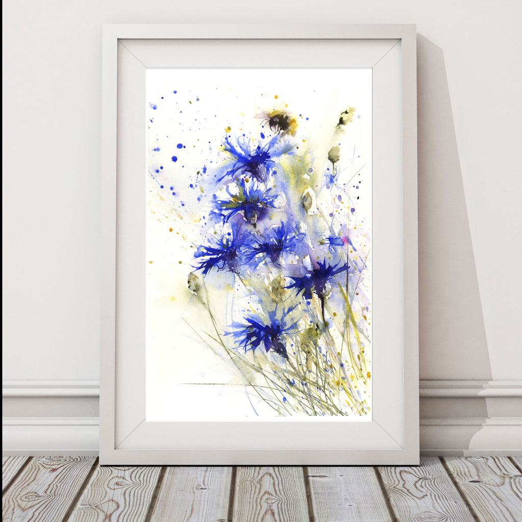 Bee on cornflower print