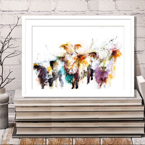 JEN BUCKLEY ART  signed PRINT  HIGHLAND COWS
