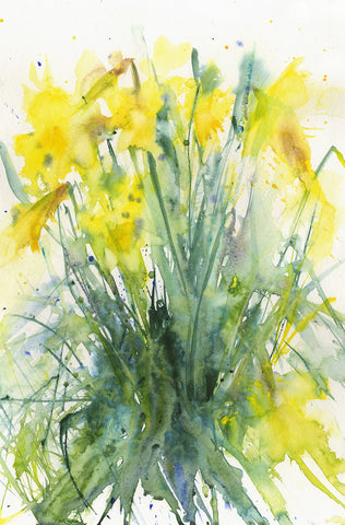 "Contemporary floral art  print from original watercolour ""daffodils"""