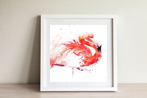 JEN BUCKLEY ART archival  PRINT  of my original FLAMINGO watercolour