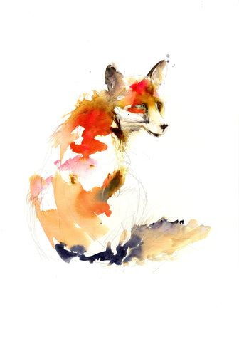 LIMITED EDITON PRINT 'sitting red fox' - Jen Buckley Art limited edition animal art prints
