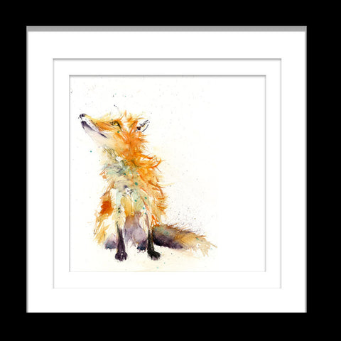 sitting red fox limited edition print by Jen Buckley