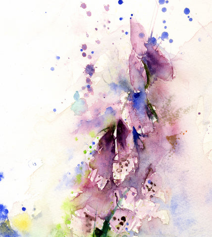 Summer foxgloves floral watercolour art limited edition print