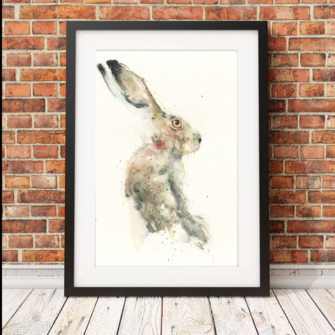 "Original sitting hare watercolour painting ""George"""