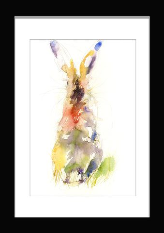 limited edition PRINT of my original sitting HARE watercolour