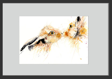 limited edition kissing hares print