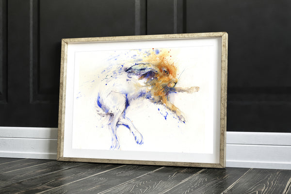 lounging hare watercolour print by jen buckley