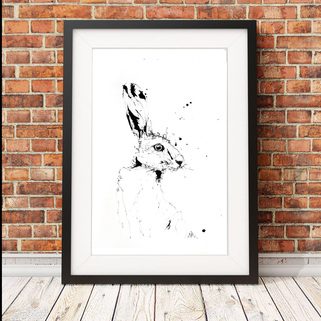 JEN BUCKLEY  signed PRINT of my original HARE indian ink drawing