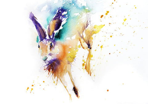 JEN BUCKLEY ART  signed PRINT of my original RUNNING HARE watercolour 8X8in  - Jen Buckley Art  - 1