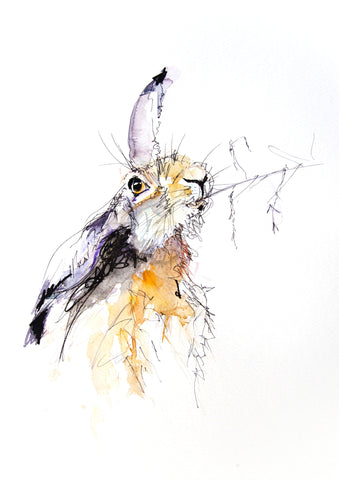 JEN BUCKLEY signed LIMITED EDITION PRINT of my original HARE watercolour  - Jen Buckley Art limited edition animal art prints
