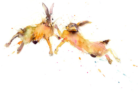 Original watercolour painting 'Boxing Hares'
