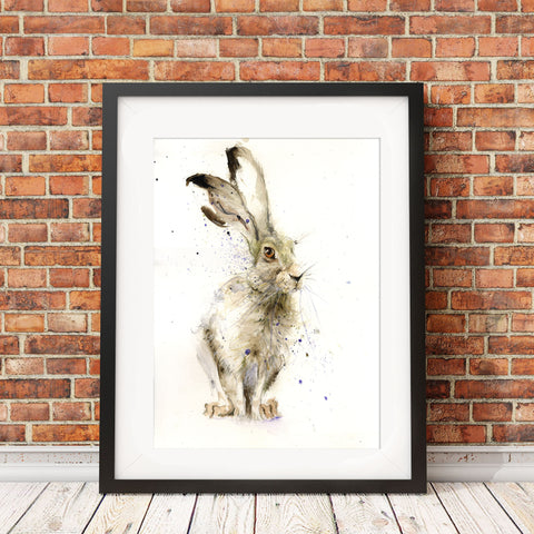 Harry the hare watercolour painting by Jen Buckley
