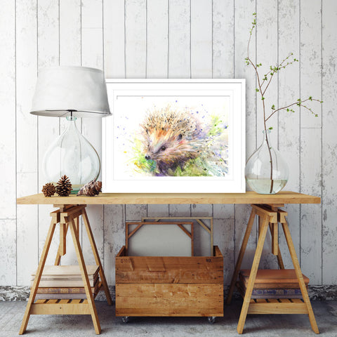 "Signed limited edition PRINT of an original  HEDGEHOG watercolour painting ""Lucy"""