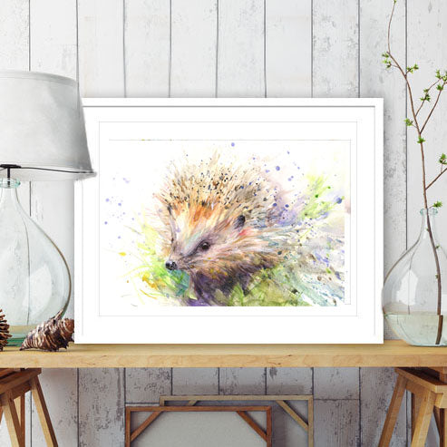 Hedgehog watercolour print by Jen Buckley