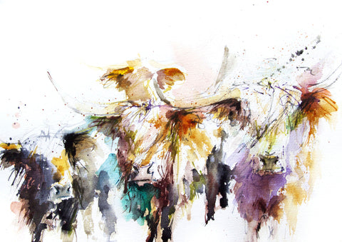 JEN BUCKLEY ART  signed PRINT of my original HIGHLAND COWS watercolour A4   - Jen Buckley Art limited edition animal art prints