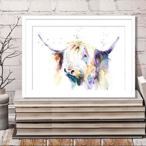 JEN BUCKLEY ART  signed PRINT  HIGHLAND COW