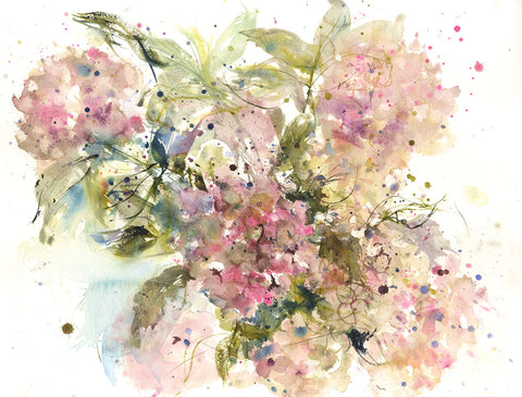 "Contemporary floral art  print from original watercolour ""Fading hydrangea"""