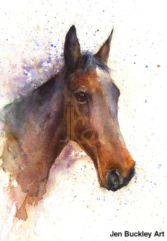 Jen Buckley Signed Limited Edition Print Of My Original Horse Watercolour Limited Edition Prints