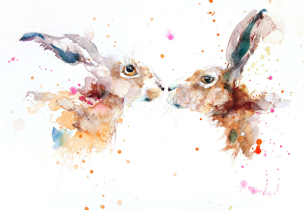 Kissing hares - Jen Buckley Art limited edition animal art prints