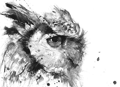 JEN BUCKLEY signed LIMITED EDITON PRINT 'Horned Owl'