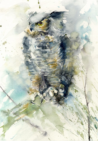 Original watercolour painting 'Horned owl'