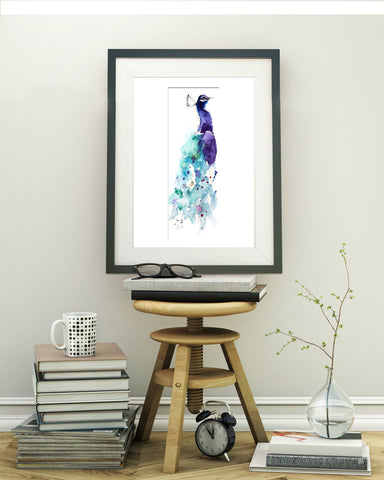'Peacock' contemporary bird print