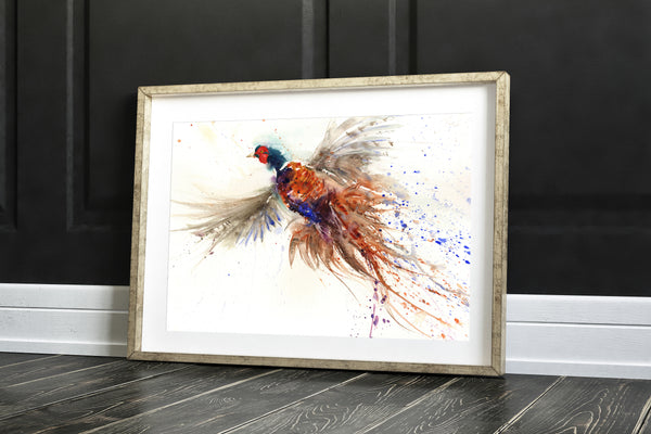 flushed pheasant art print by jen buckley