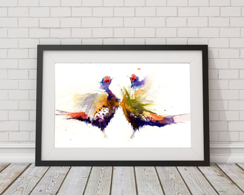 LIMITED EDITON  Sparring pheasants watercolour print