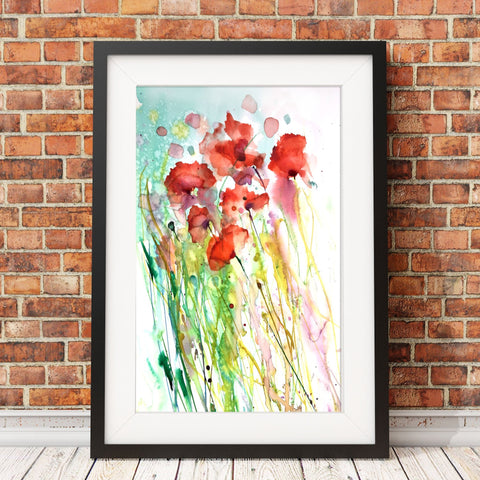 poppy watercolour print by Jen Buckley