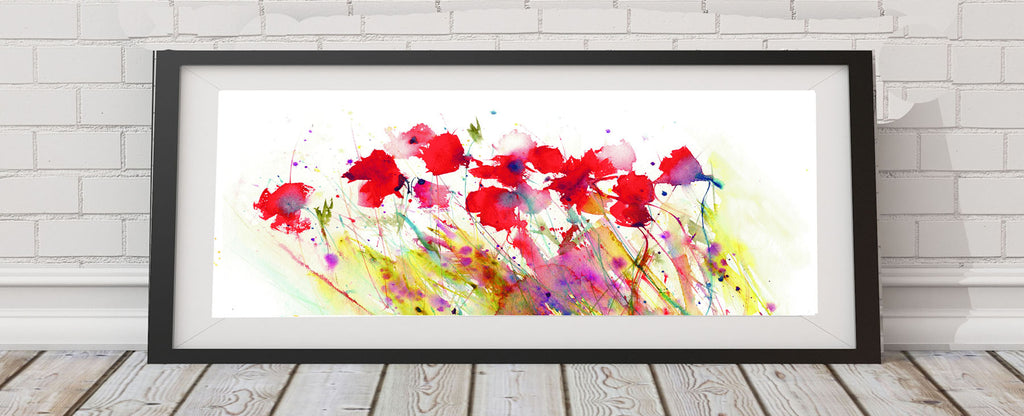Contemporary floral poppy art  print from original watercolour