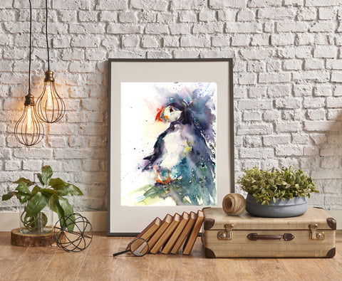 LIMITED EDITON PRINT of original PUFFIN watercolour