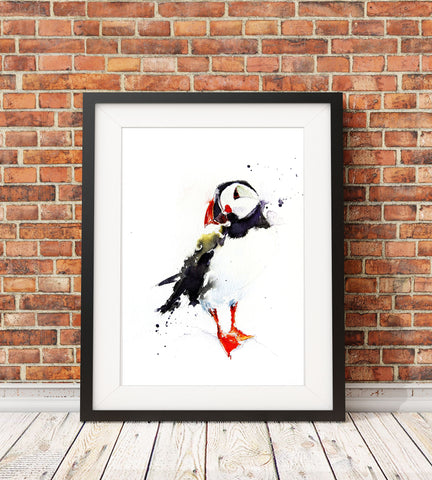 JEN BUCKLEY signed PRINT of  original PUFFIN watercolour