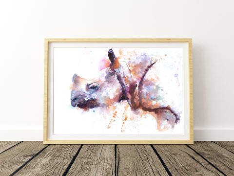 JEN BUCKLEY signed LIMITED EDITON PRINT of my original RHINO watercolour