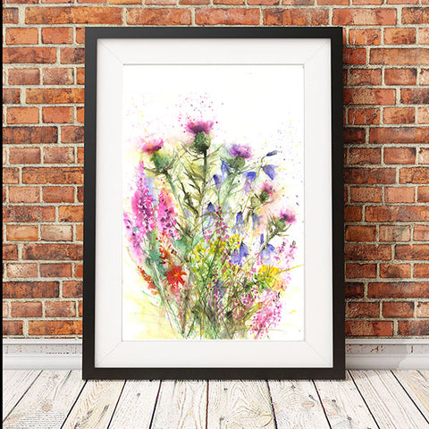"Contemporary floral art  print from original watercolour ""Scottish wildflowers"""