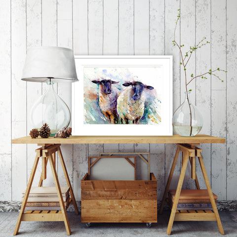 2 ewes original watercolour print by Jen Buckley
