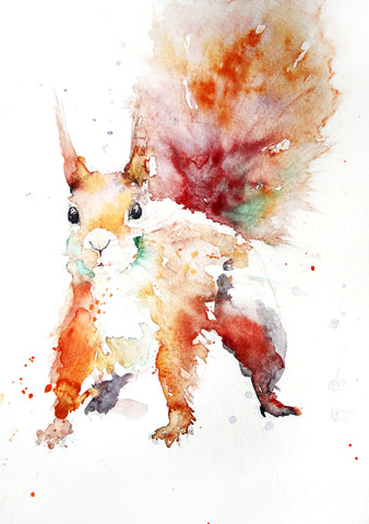 JEN BUCKLEY signed LIMITED EDITON PRINT of my original Squirrel watercolour