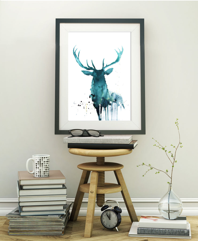 JEN BUCKLEY ART  signed PRINT of my original STAG watercolour