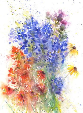 "Contemporary floral art  print from original watercolour ""Texan wildflowers"""