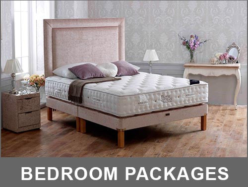 package mattress, bed, and headboard