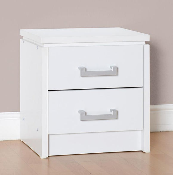 Charles 2 Drawer Bedside Chest in White