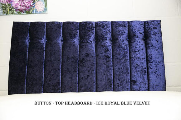 Button Top Headboard | Ice Royal Blue Velvet