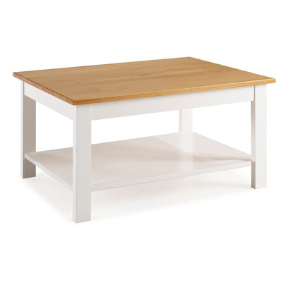 WHITNEY COFFEE TABLE WITH SHELF - WHITE